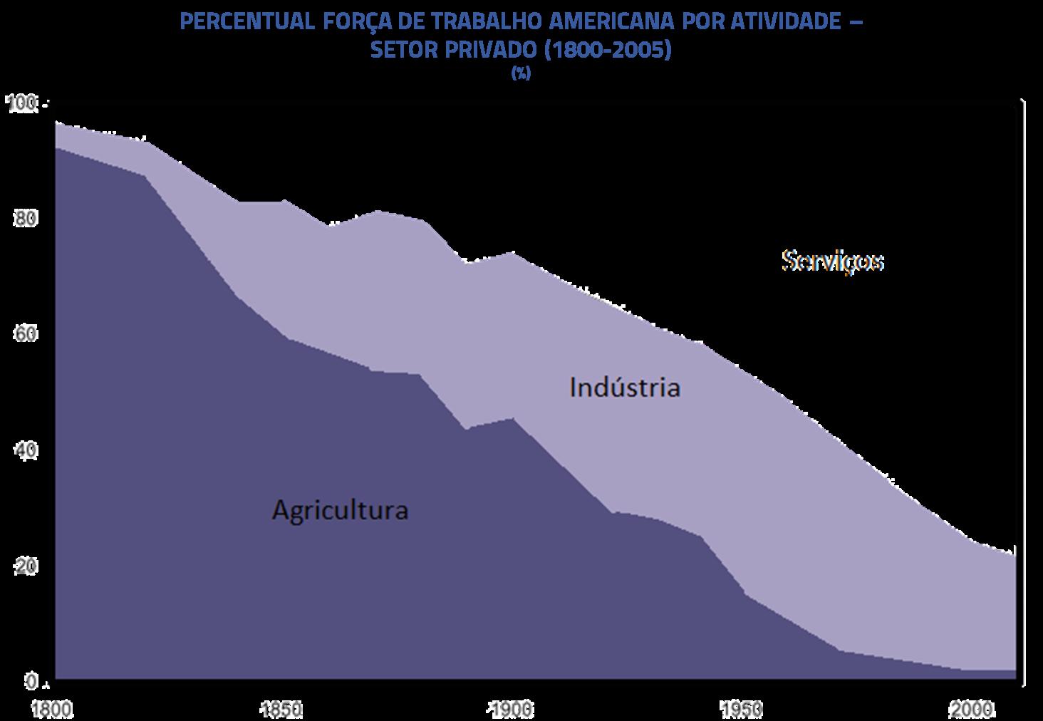 Percentual força de trabalho americana por atividade