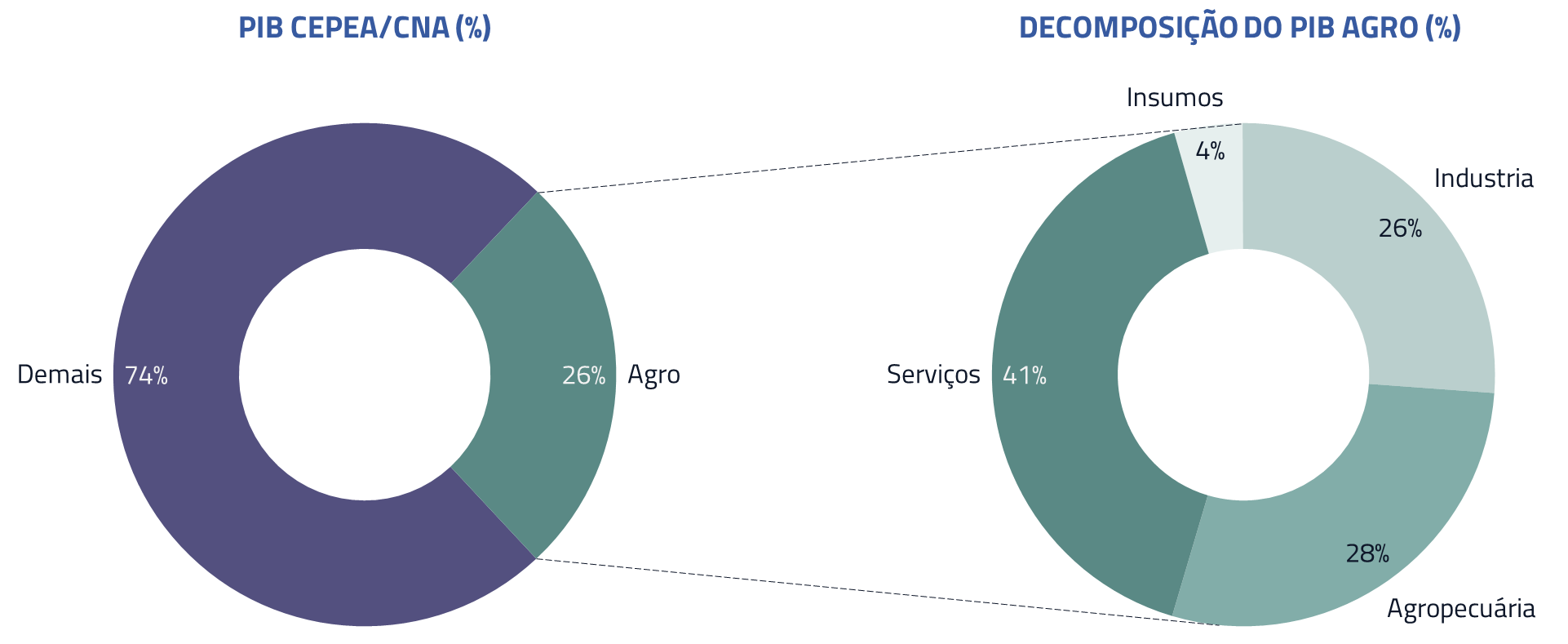 PIB CEPEA/CNA(%) | Decomposição do PIB Agro (%)