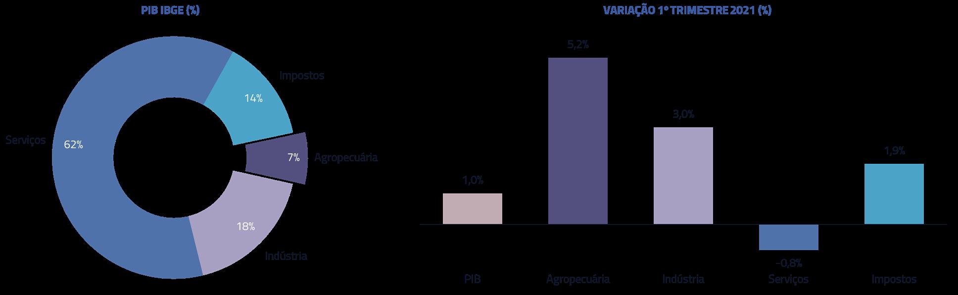 PIB IBGE (%) | Variação 1 trimestre 2021 (%)