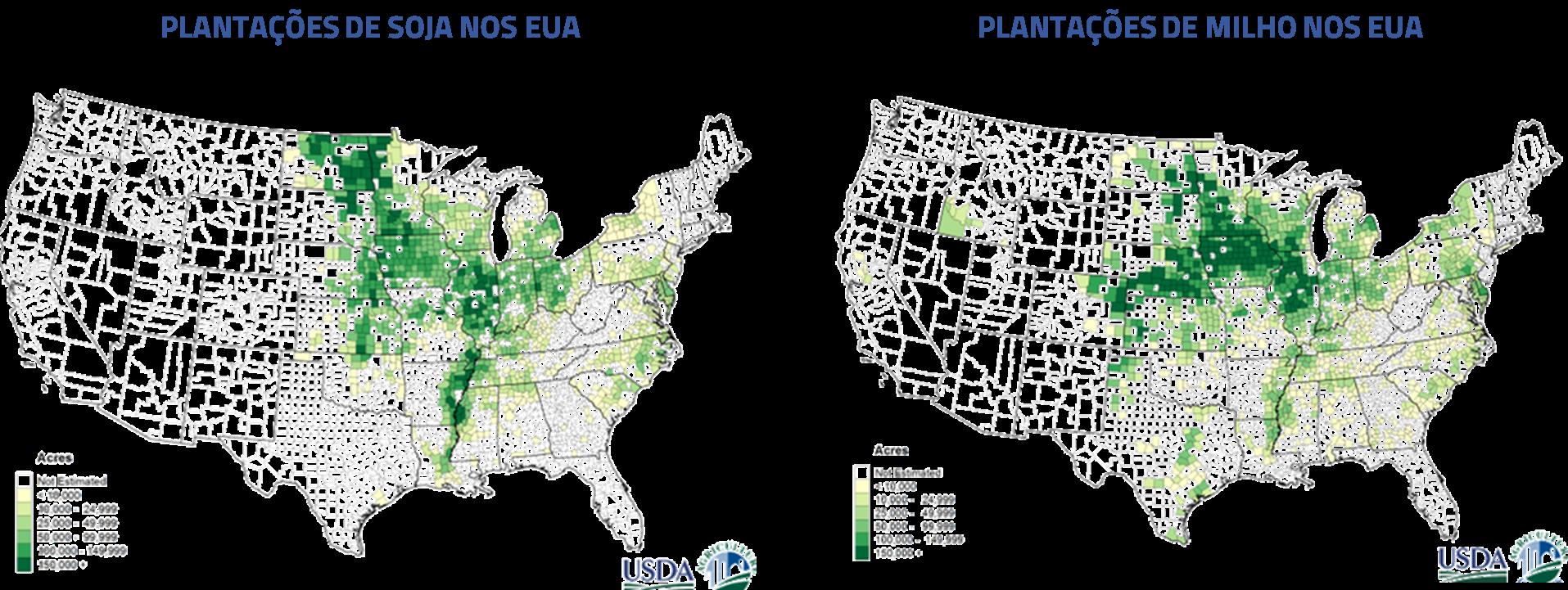 Plantações de Soja nos EUA | Plantações de milho nos EUA